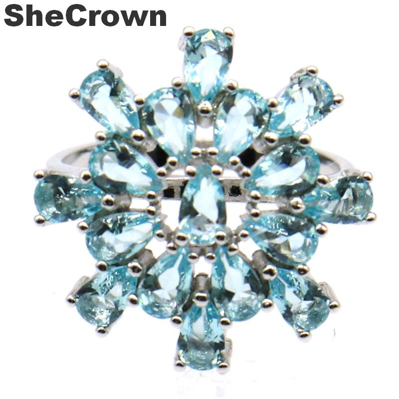 21x21mm Stunning Created Star Shape Sky Blue Topaz Gift For Sister Silver Rings