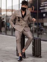 2021 Brown Double Breasted Casual Slim Fit Wedding Dress Groom Suits Dinner Suits Slim Fit Blazer Two Pieces Suits(Jacket+Pants)