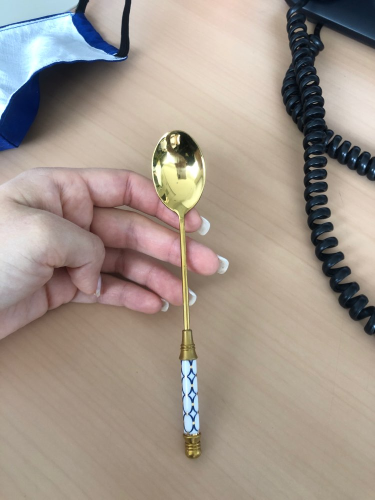 Stainless Steel Ceramic Handle Spoons in Gold