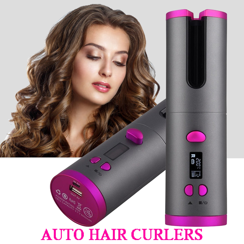 Portable Cordless Hair Curler Automatic Curling Iron Wand Rechargeable Auto Hair Curler with 6 Temperature & Timer Settings