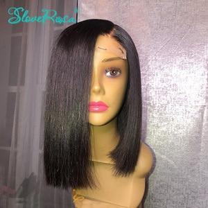 Image 2 - 150% 密度13 × 4レースフロント人毛ウィッグ黒人女性ショートボブブラジルレミーヘアー前摘み取らベビーヘアーsloveためローザ