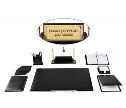 YERSU Büro Business Schwarz Leder Schreibtisch Tisch Pad Zubehör Set und Holz Typenschild FULL SET Kostenloser Gravur zu Name Platte