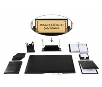 YERSU Office Business Black Leather Desk Table Pad Accessories Set and Wooden Nameplate FULL SET Free Engraving to Name Plate Desk Set     -