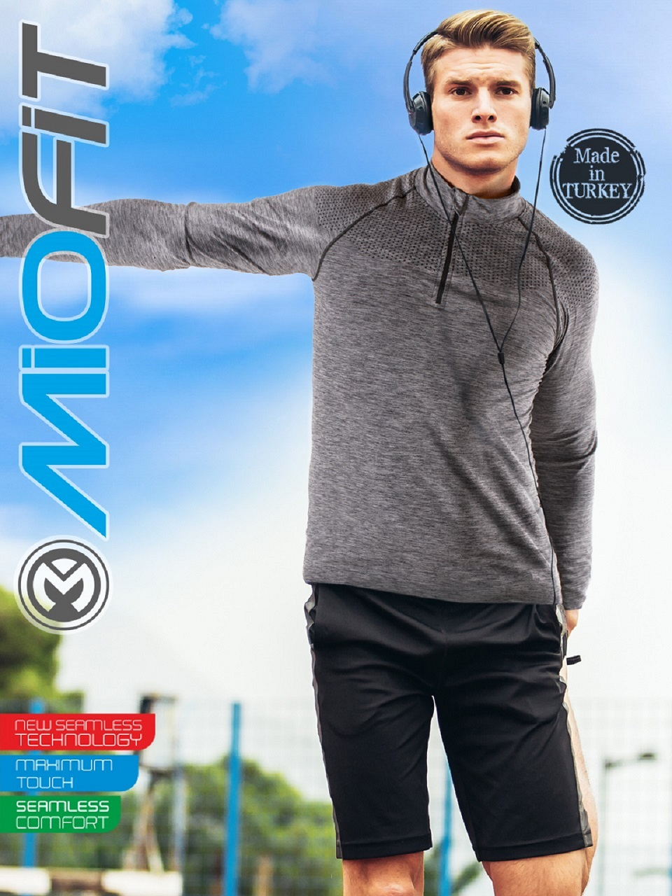 Long Sleeve Half Zip Seamless Compression Shirt For Men - Quick Dry Gym T-Shirt Fitness Sport Male Tee Rashgard Workout Traning
