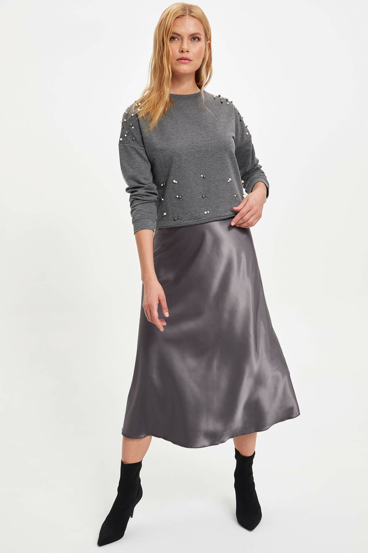 DeFacto Woman Winter Silver Red Long Skirts Women Pleated Loose Long Woven Velet Skirt Female Long Skirts-M8095AZ19WN