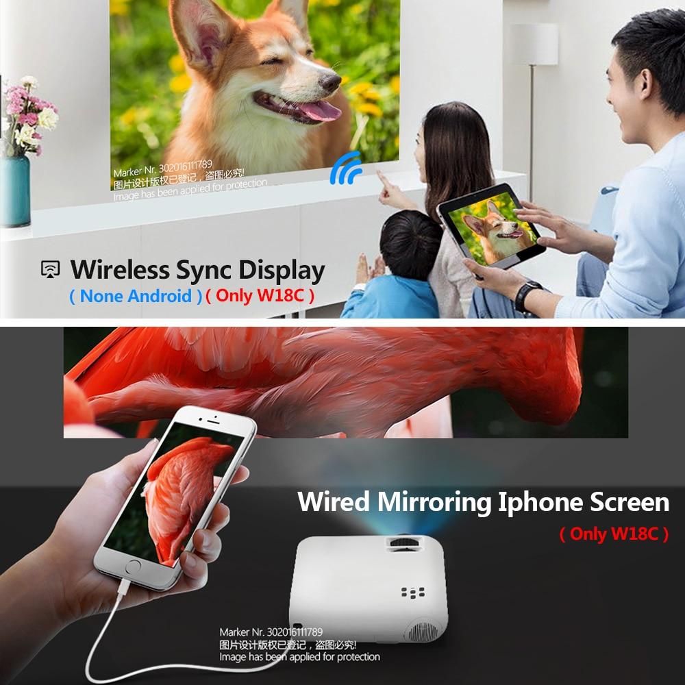 AUN мини-проектор W18C, 2800 люмен, 854*480 P, беспроводной синхронизация дисплея для телефона, портативный домашний кинотеатр для Full HD 1080P Beamer