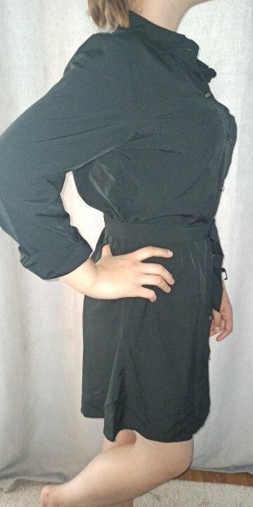 Fashion Casual Shirt Dress Fall Clothing Casual Solid Color Long Sleeve Button Turndowen Collar Women Mini Dress reviews №2 119853