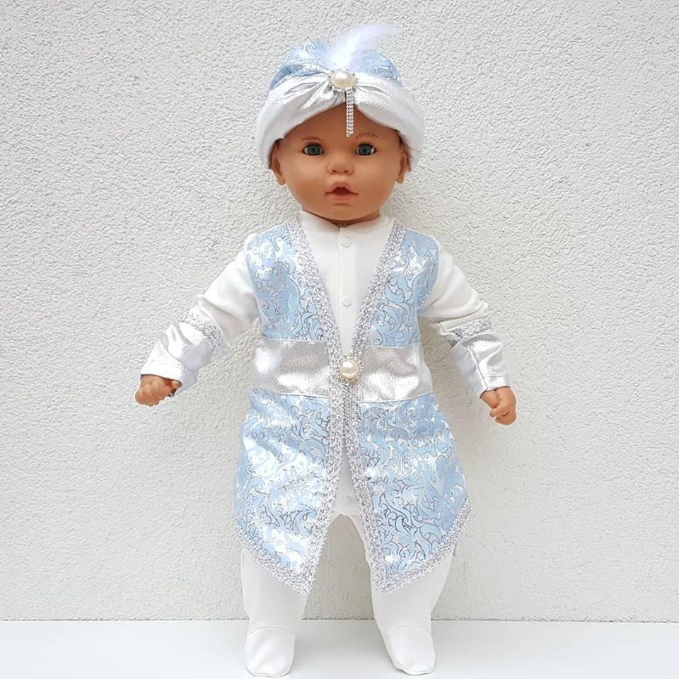 New Model Light Blue Prince Baby Mevlüt Rompers