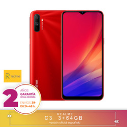 [Version Warranty Official Spanish] Realme C3 3 + 64GB,MediaTek Helio G70,6,5 inch HD + resolution, dual camera, Android 10