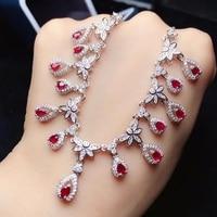 KJJEAXCMY Fine Jewelry925 Sterling Silver Natural Gemstone Ruby Rubbing Female Models Ladies Girl Lock Bone Chain Link Luxury 2