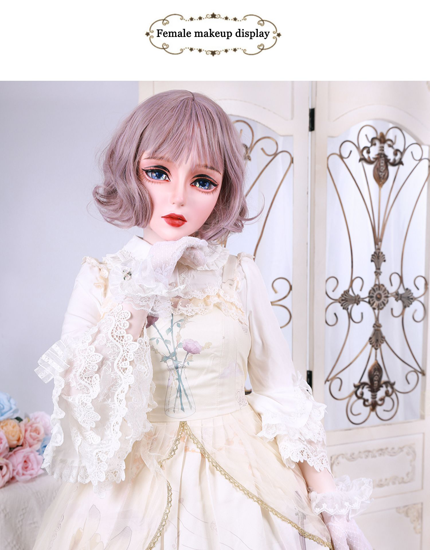 (HD02)HIDOLLS×DMS Resin Half Head Female/Male Face Cosplay Kigurumi Crossdress Japanese Role Lolita BJD Mask Crossdresser DOLL