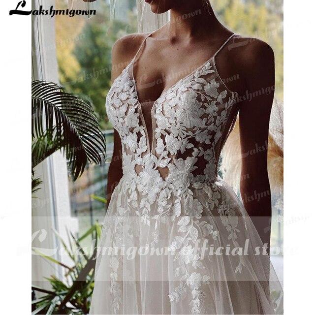Robe Vintage Beach Wedding Dresses 2021 Tulle Long Lace Beach Bridal Gown A-Line Court Train vestido de noiva Lakshmigown 5