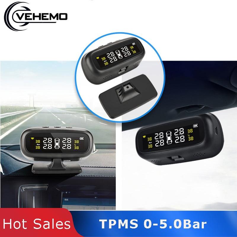 Système de surveillance de la pression des pneus solaire Tmps PC jauge intelligente moniteur capteur ABS noir affichage alarme Automobile