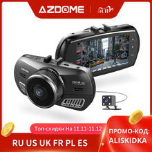 AZDOME M11 3 inch 2.5D IPS Screen Dash Cam Car DVR Recorder HD 1080P Dual Lens Car Video Dashcam Night Vision GPS Dash Camera