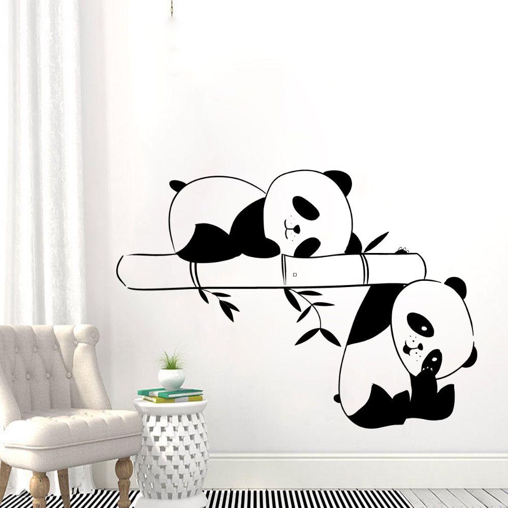 The Two Cute Panda Playing In Bamboo Wall Sticker inambazaar.com