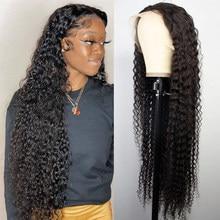 30 Polegada onda de água peruca 4x4 fechamento do laço frente perucas de cabelo humano para preto curto encaracolado brasileiro 13x4 onda profunda peruca frontal