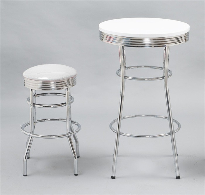 Stool CHIC, Plating, Similpiel White