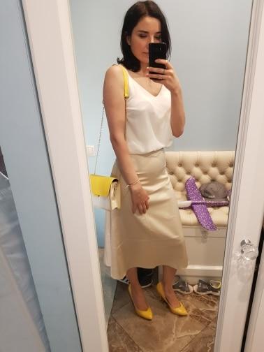 Elegant High Waist Zipper Mid-length Skirt photo review