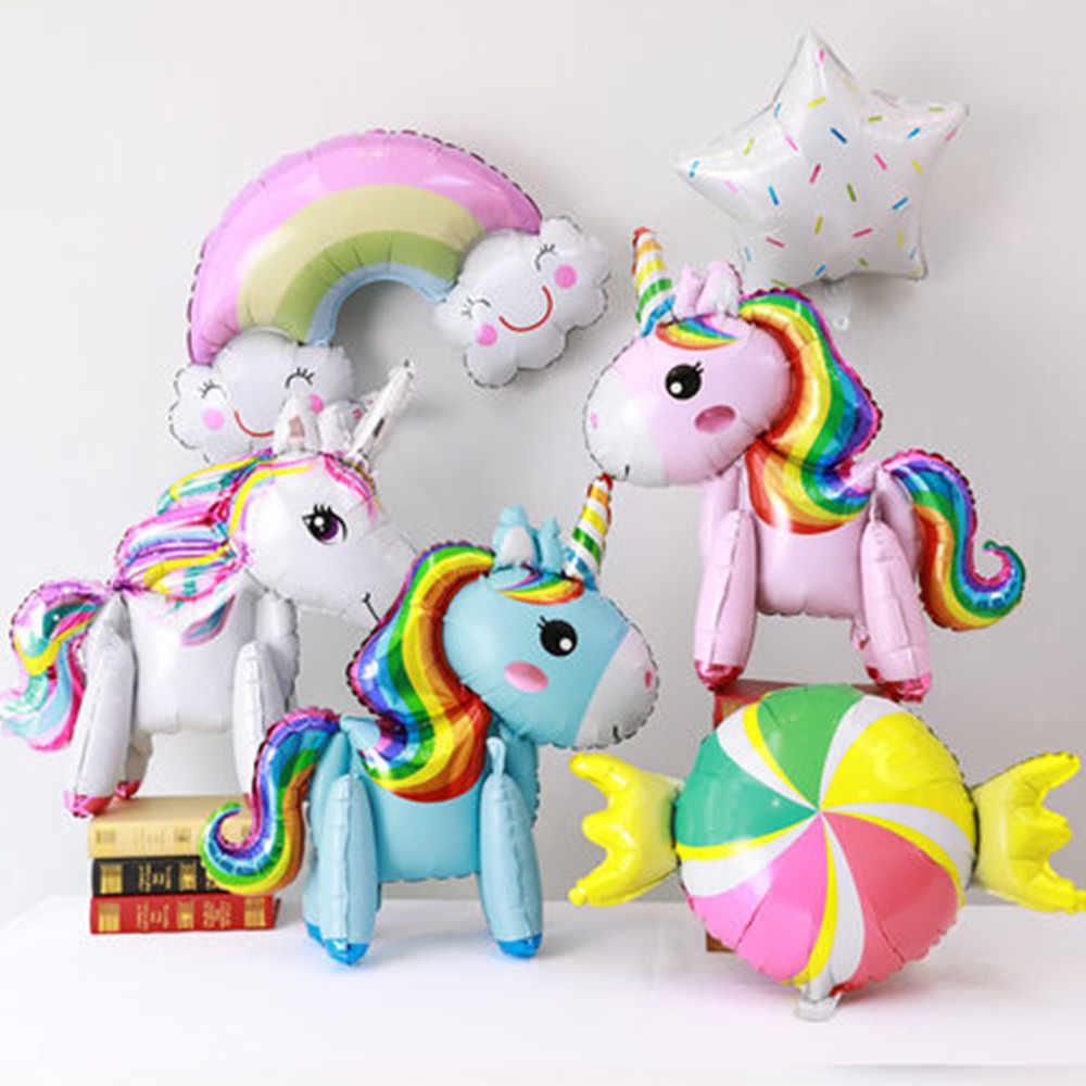 1 ADET 100*97 CM Pembe At Küçük Midilli Unicorn Folyo Balonlar helyum balon Çocuk Oyuncakları Düğün Doğum Günü Hayvan Parti dekor Malzemeleri