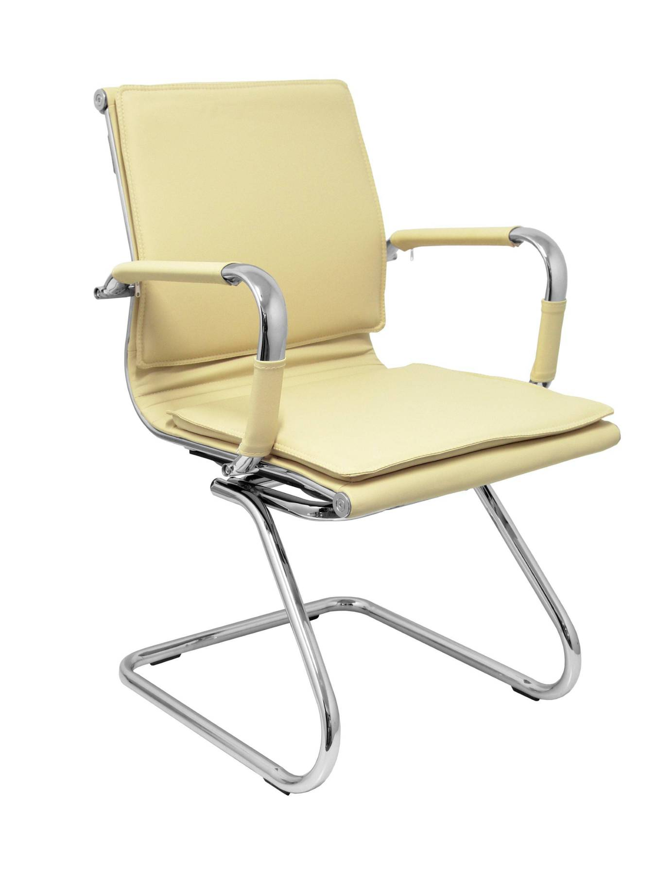 Office's Armchair Ergonomic Confidante/waiting With Skate Chrome-up Seat And Backstop Upholstered In Similpiel Color Ne