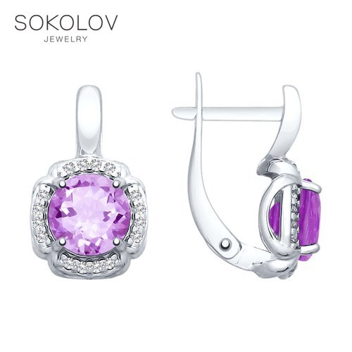 Drop Earrings With Stones With Stones With Stones With Stones With Stones With Stones With Stones With Stones SOKOLOV Silver With Amethyst And Cubic Zirkonia Fashion Jewelry 925 Women's/men's, Male/female