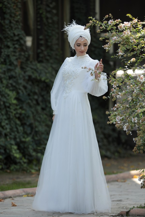 Muslim Wedding Dress Gown Balloon Sleeve