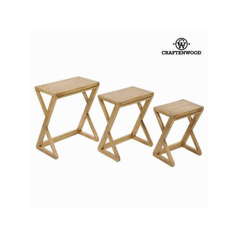 Set Of 3 Tables Wood Mindi IOS-Collection Village By Craftenwood