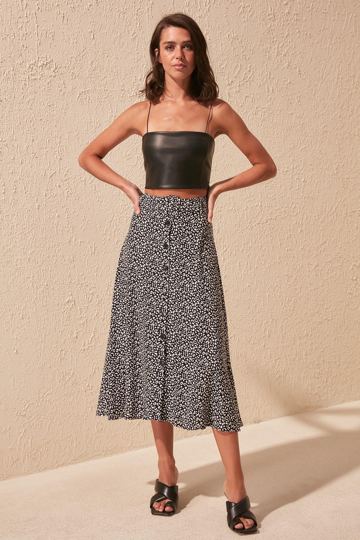 Trendyol Pattern Lacing Detailed Skirt TWOSS20ET0256