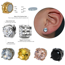 Pair Fake Cheater Non Pierced Strong Magnet Ear Stud Shiny Zircon Ear Magnetic Stud Earrings Punk No Hole Earring