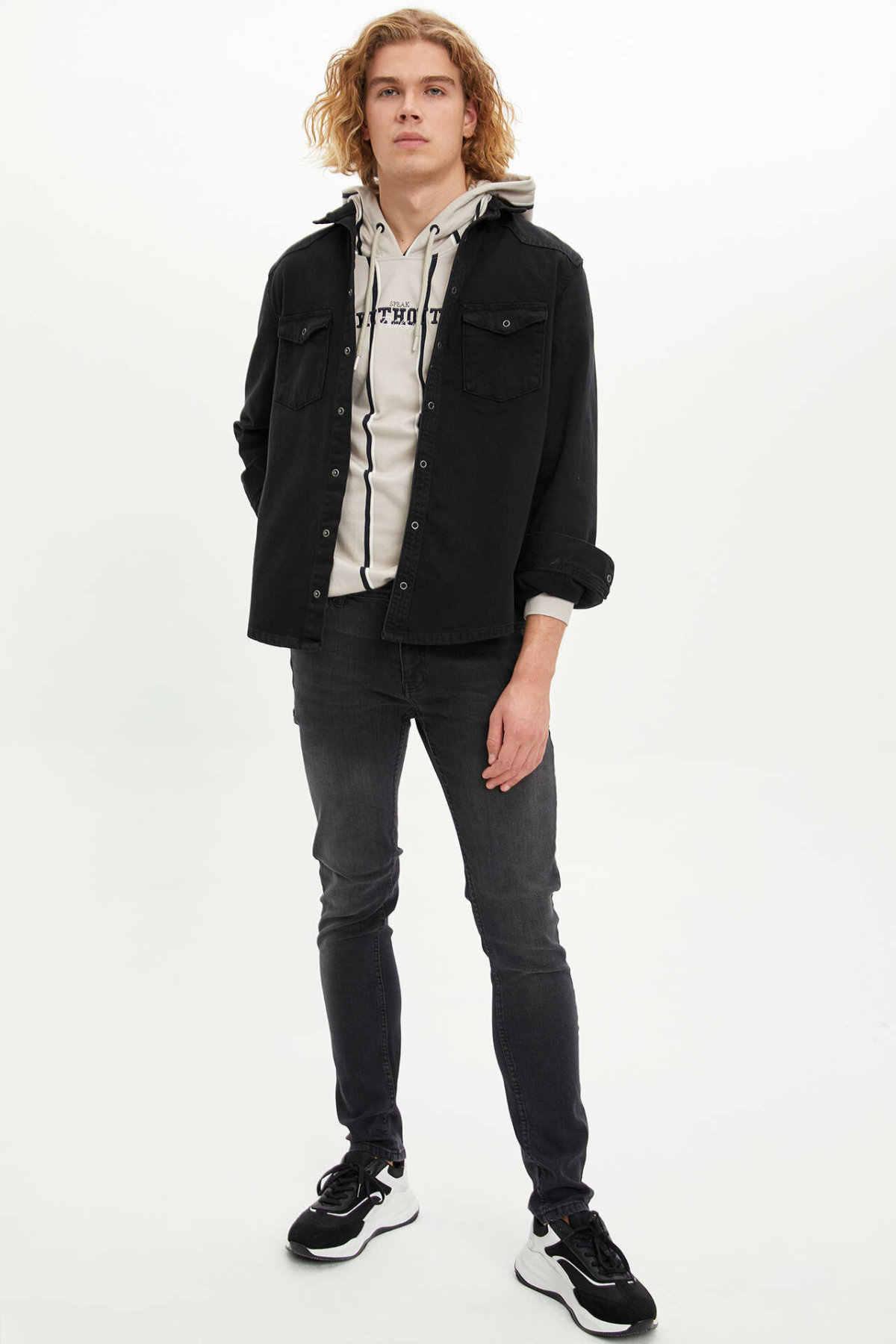 DeFacto Casual dla mężczyzn Lapel kurtki dżinsowe męskie czarne dżins wysokiej jakości płaszcz luźne kieszenie rekreacyjne płaszcze męskie