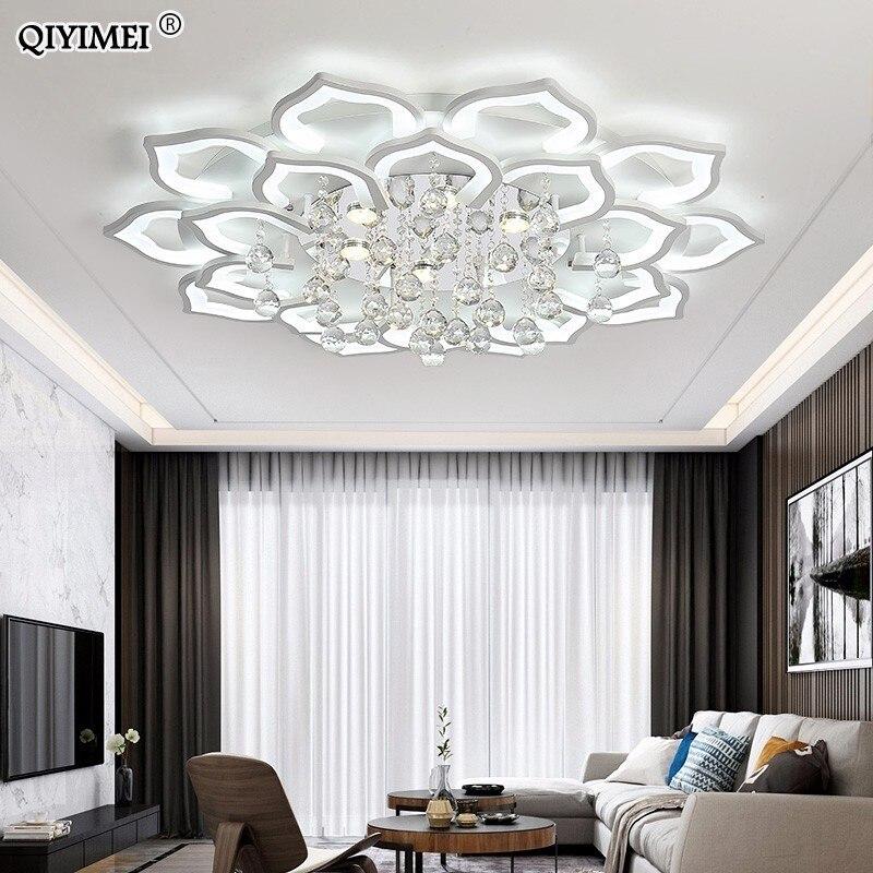 Luzes de teto led para sala estar quarto com controle remoto cristal lamparas techo moderna casa luminárias teto partecho