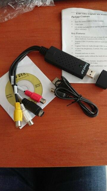USB Video Capture Card Adaptor TV DVD VHS Capture de v deo Card Audio AV kanggo Kamera / Kamera CCTV USB 2.0 EasyCAP DC60