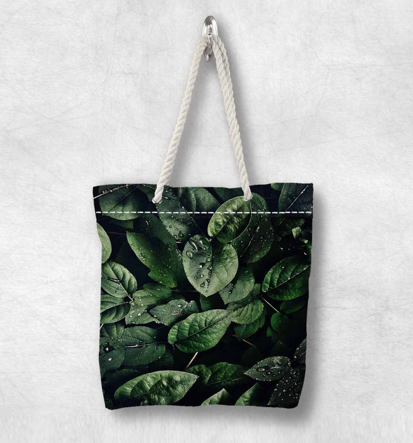 Else Green Jungle Tropical Leaves Floral Fashion White Rope Handle Canvas Bag Cotton Canvas Zippered Tote Bag Shoulder Bag