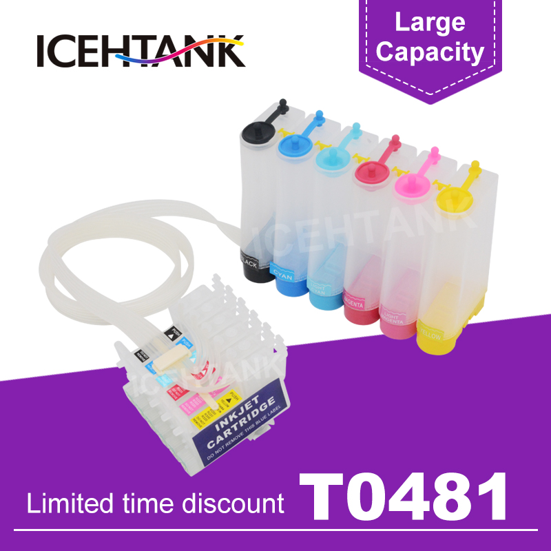 ICEHTANK Continuous Ink Supply System For <font><b>Epson</b></font> T0481 Stylus Photo <font><b>R200</b></font> R220 R300 R300M R320R340 RX500 RX600 RX620 RX640 Printer image