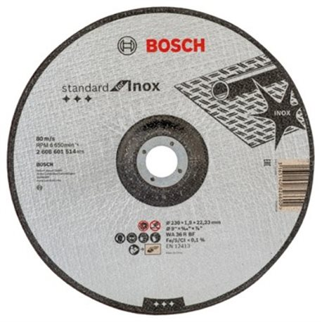 CUTTING DISC INOX CONCAVE 230X1, 9X22, 23MM STANDARD BOSCH
