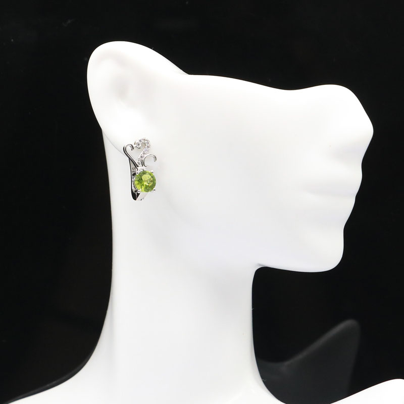 Купить 15x8 мм простой стиль создан зеленый перидот белый серебряные