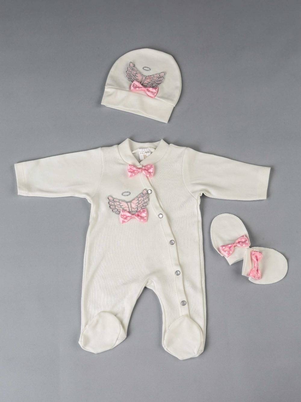 083-584-021 Pembe Melek Kanatlı Kız Bebek 3 lü Tulum Seti (1)