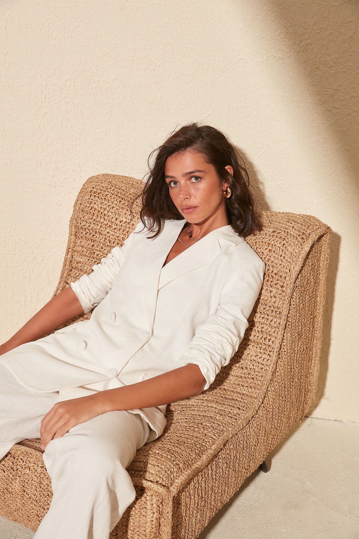 Trendyol Linen Looking Cotton Basic Jacket TWOSS20CE0163
