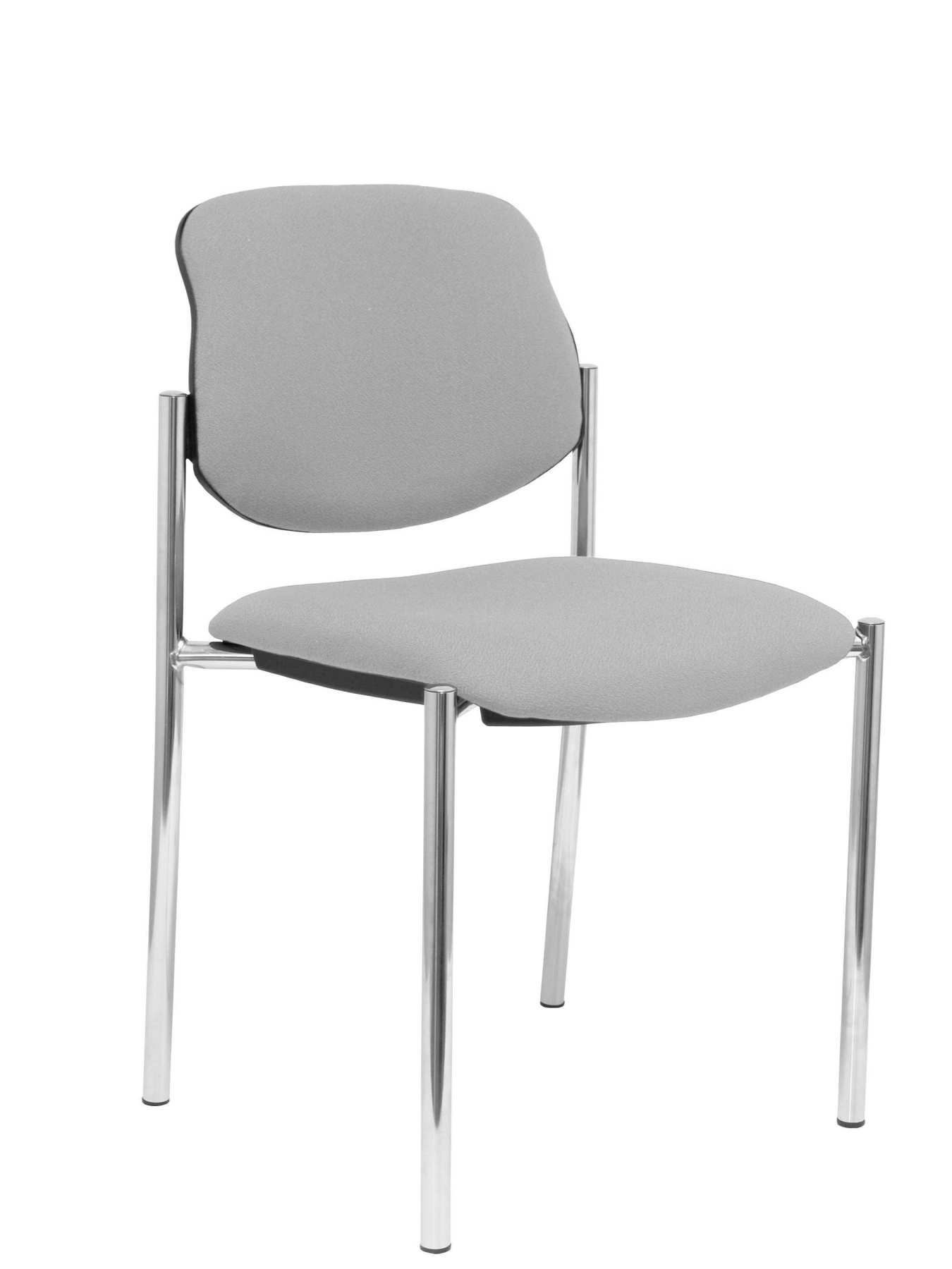 Confident Chair 4-leg And Estructrua Chrome Seat And Back Upholstered In Fabric BALI Gray PIQUERAS And CRE