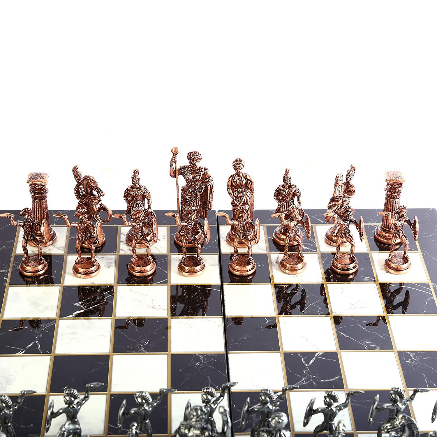 Historical Antique Copper Rome Figures Metal Chess Set for Adult,Handmade Pieces and Marble Design Wood Chess Board King 11 cm 2