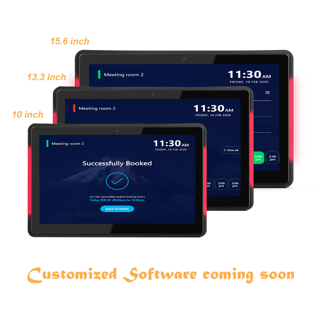 10.1 inch Android PoE Wall mounted tablet pc with LED bars for conference meeting room schedule display open source, rooted