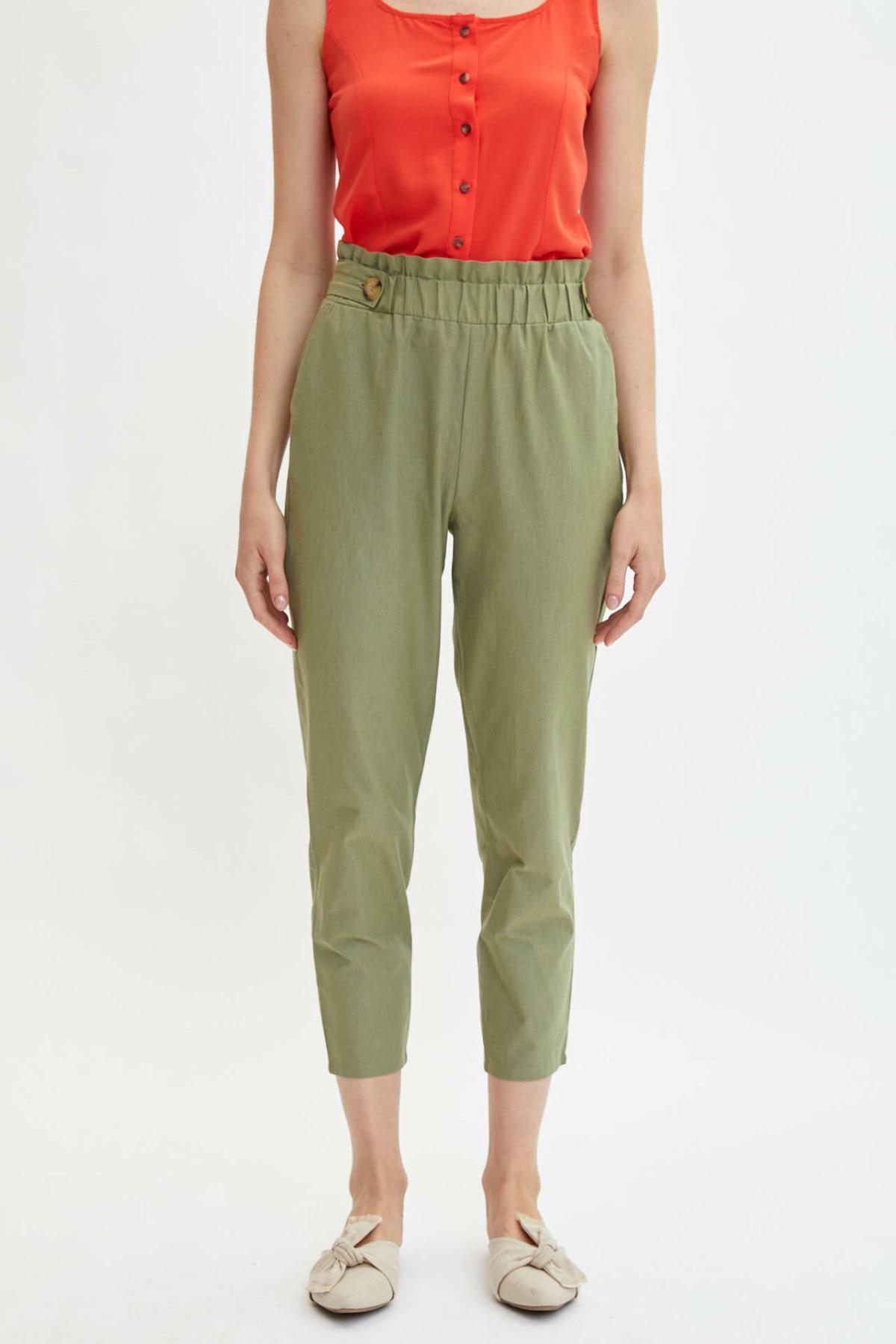 DeFacto Fashion Women Elastic Waist Pants Solid Color Casual Ladies Loose Button Trousers Female Comfort - 1176AZ19HS