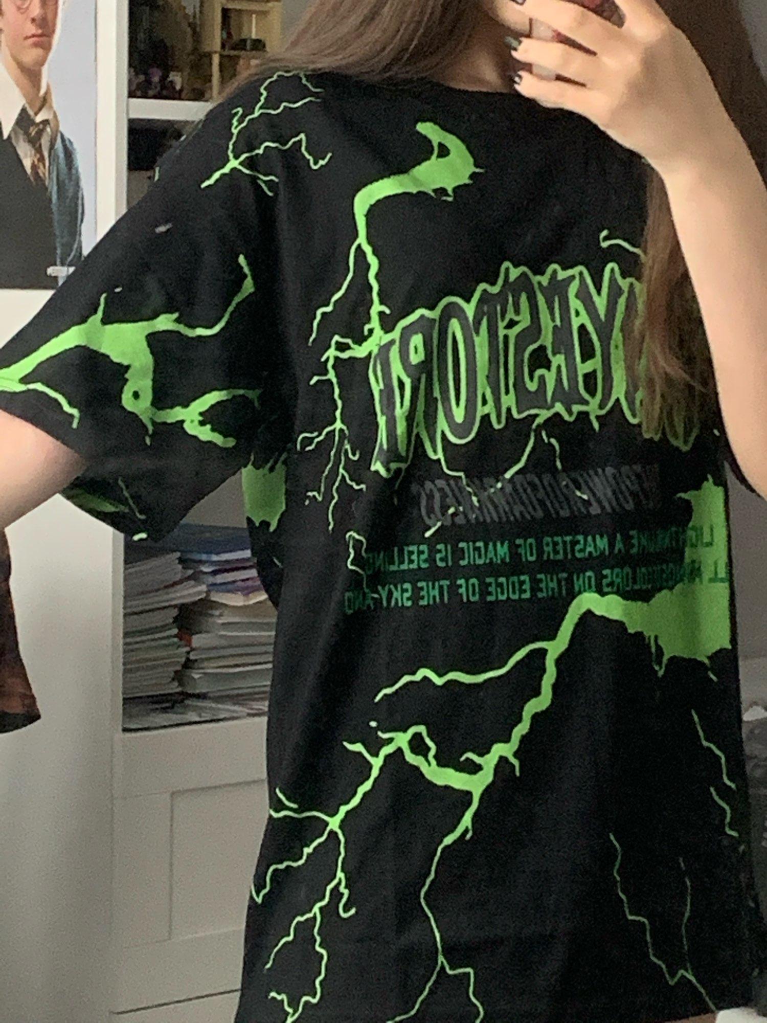 Lightning print T-shirt E-boy E-girl photo review