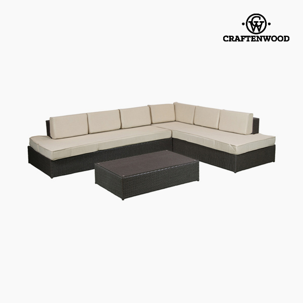Sofa And Table Set (200 X 87 X 61 Cm) Rattan Beige Brown