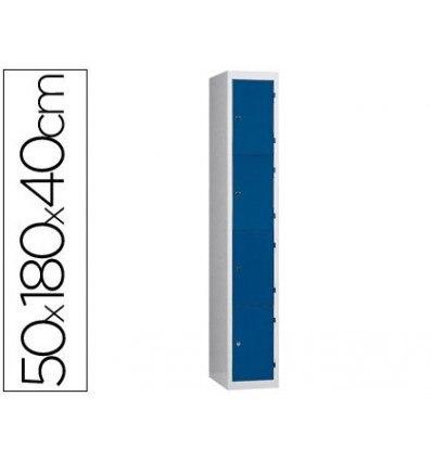 LOCKER METAL Q-CONNECT 4 COMPARTMENTS WITH KEYS 50X180X40 CM PROF STEEL LAMINA0, 8 MM INITIAL GRAY/BLUE