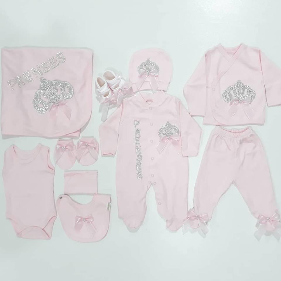 Stone Embroidered Princess 10 Piece Baby Girl Hospital Output Set