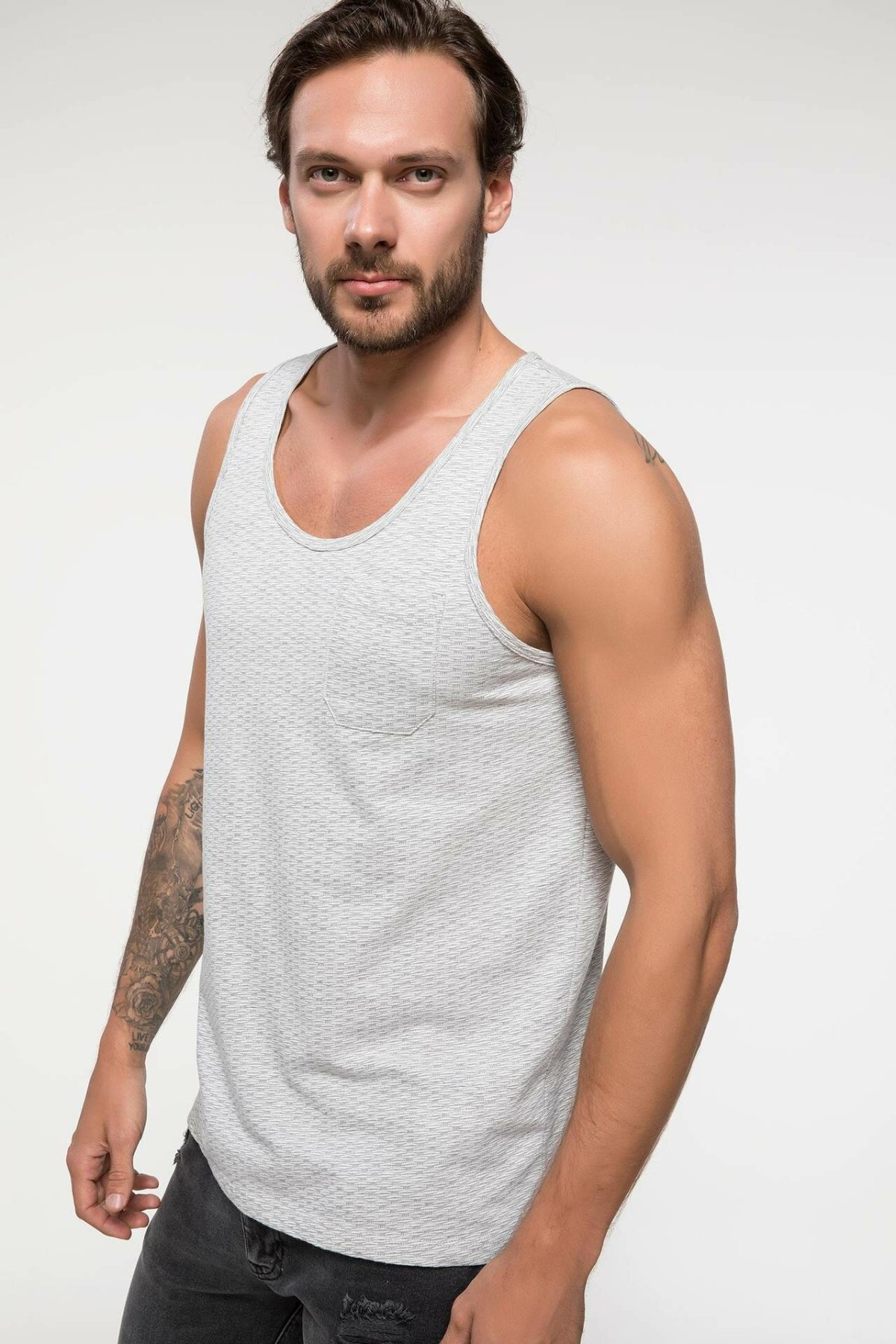 DeFacto Summer Mens Cotton Tank Tops Light Grey Sleeveless Male Knitted Athl Camis Tops I8740AZ18SMGR210-I8740AZ18SM