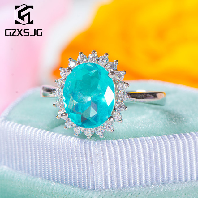 GZXSJG Paraiba التورمالين الأحجار الكريمة الدائري للنساء الصلبة 925 فضة التورمالين الماس خاتم يدوي الصنع للذكرى