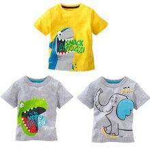 Хлопковые топы для маленьких мальчиков, футболка, комплекты одежды с принтом животных из мультфильмов