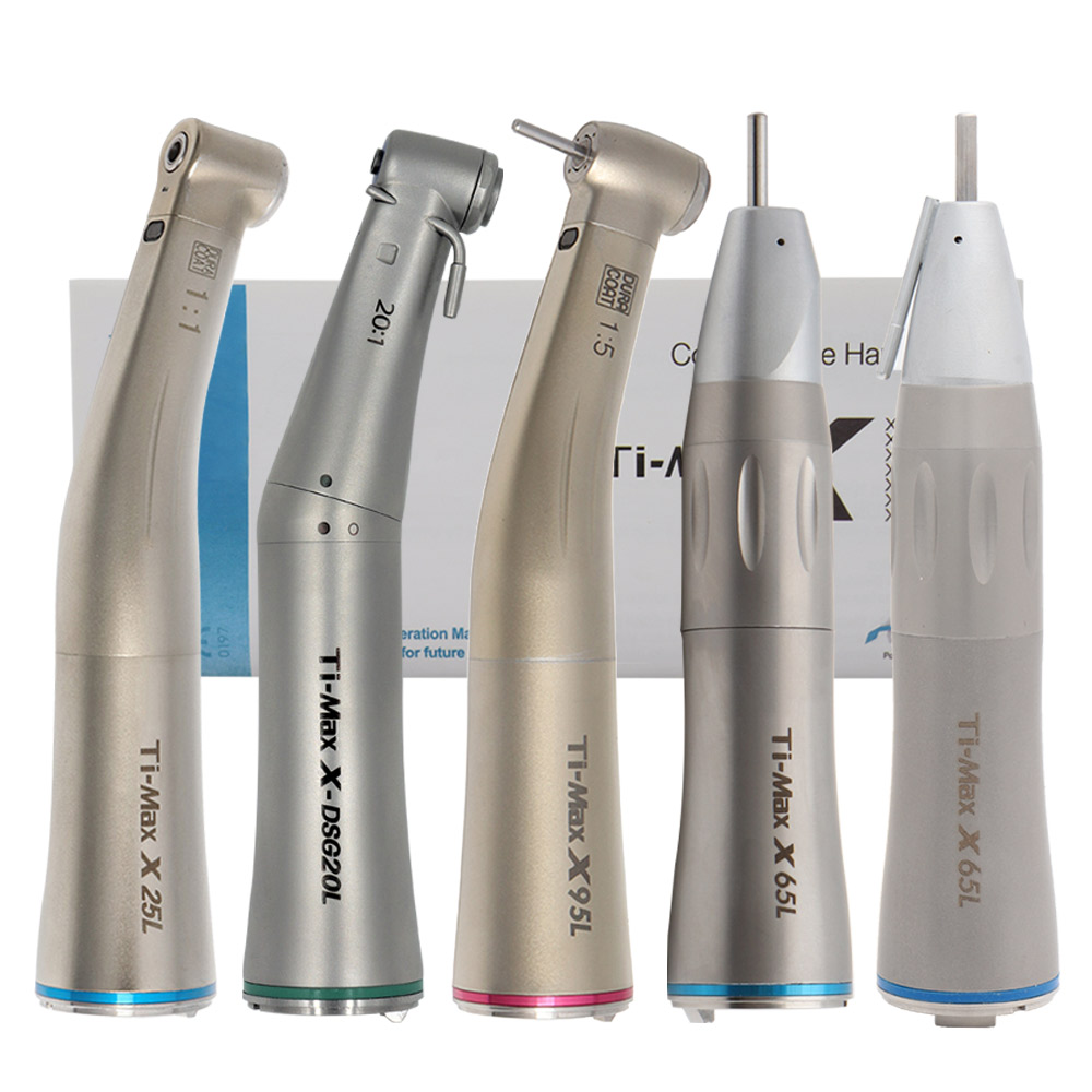 Dental 1:5 Increasing Red Ring Contra Angle Low Speed Handpiece Quattro Spray Optic Fiber For E-TYPE Motor 1:1/20:1 X95L/X25L(China)